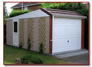 Pre Cast Concrete Double Garage With White Doors